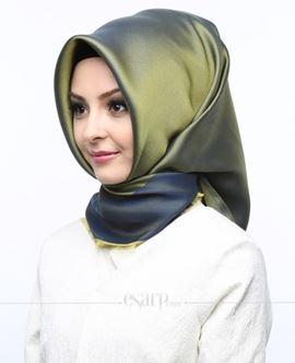 KARACA Yeşil Lacivert Renkli Düz Desenli Polyester Eşarp 110005