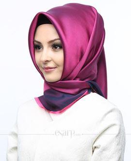 KARACA Pembe Lacivert Renkli Düz Desenli Polyester Eşarp 110010