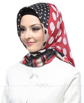 KARACA Kırmızı Siyah Renkli Puantiye Desenli Polyester Eşarp 110050