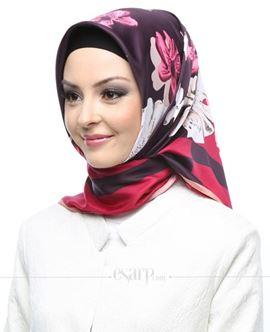KARACA Bordo Mor Renkli Çiçek Desenli Polyester Eşarp 110052
