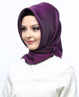 MİRAY Mor Renkli Düz Desenli Polyester Eşarp 111016