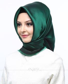 MİRAY Yeşil Renkli Düz Desenli Polyester Eşarp 111018