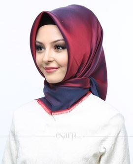 MİRAY Bordo Lacivert Renkli Düz Desenli Polyester Eşarp 111020
