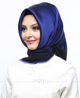 MİRAY Lacivert Renkli Düz Desenli Polyester Eşarp 111021