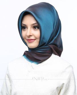 MİRAY Mavi Mor Renkli Düz Desenli Polyester Eşarp 111022