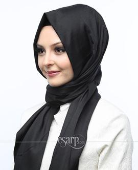 MİRAY Siyah Renkli Düz Desenli Polyester Şal 111024