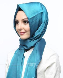 MİRAY Mavi Renkli Düz Desenli Polyester Şal 111028