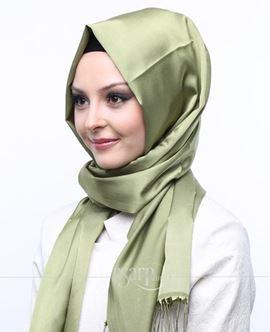 MİRAY Yeşil Renkli Düz Desenli Polyester Şal 111029