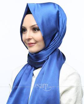 MİRAY Mavi Renkli Düz Desenli Polyester Şal 111030