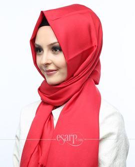 MİRAY Kırmızı Renkli Düz Desenli Polyester Şal 111031