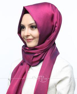 MİRAY Lacivert Bordo Renkli Düz Desenli Polyester Şal 111033