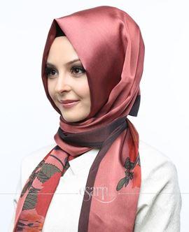SUNWAY Kırmızı Renkli Çiçek Desenli Digital Baskılı Polyester Şal 118003