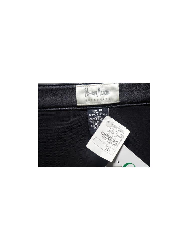 Siyah Neiman Marcus Deri Pantolon