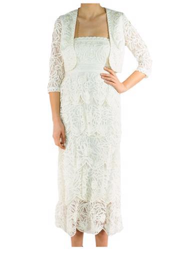 Krem Sue Wong Elbise - Ceket