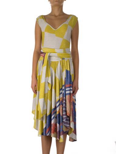 Sarı Versace Etek - Bluz