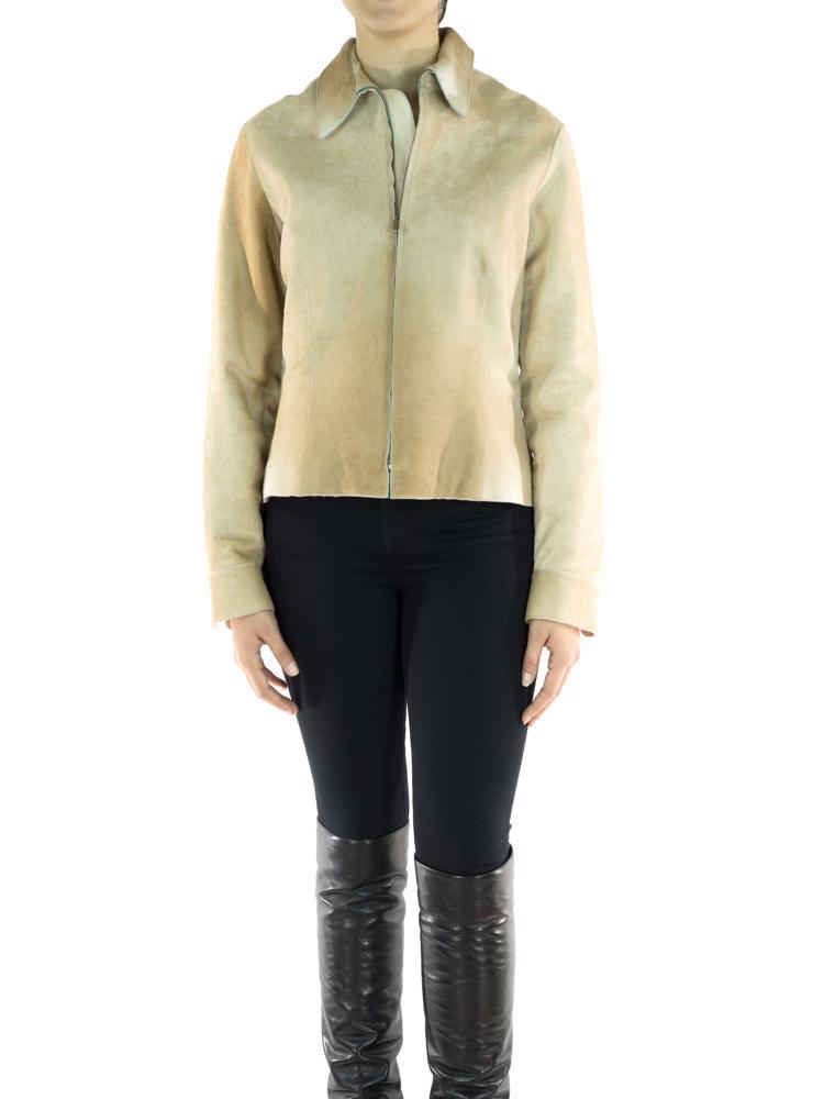 Bej Calvin Klein Collection Deri Ceket