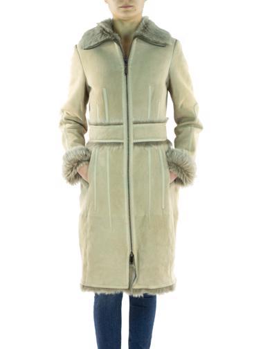 Bej Özel Yapım Deri Palto