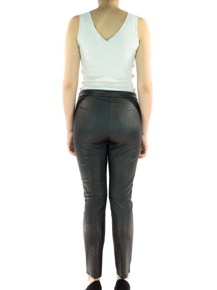 Siyah Majectic Treasure Deri Pantolon