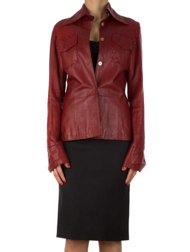 Kırmızı Dolce&Gabbana Deri Ceket